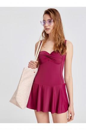 فستان نسائي بزمة من المنتصف - بنفسجي