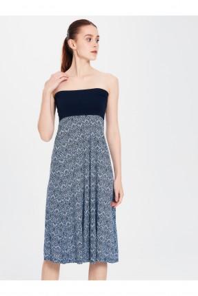 فستان شاطئ مزخرف بدون اكتاف