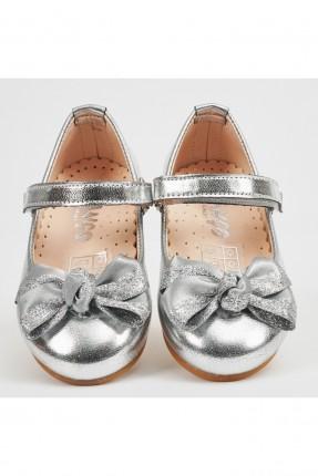 حذاء بيبي بناتي لامع - رمادي