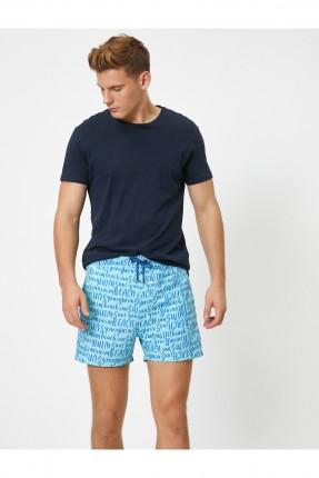 شورت سباحة رجالي بكتابات - ازرق