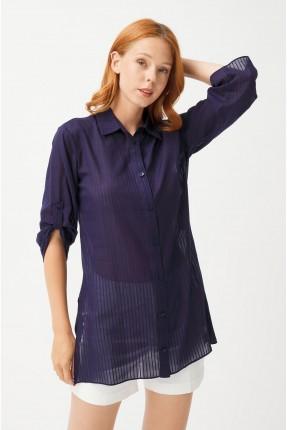 قميص نسائي سبور مخطط - ازرق داكن