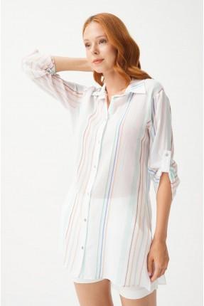 قميص نسائي طويل مخطط بالالوان