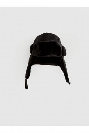 قبعة رجالية مزينة بفرو - اسود