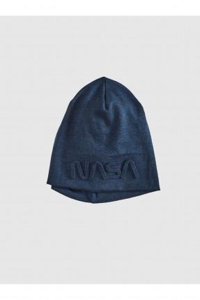 قبعة رجالية بنقشة كتابة - كحلي غامق
