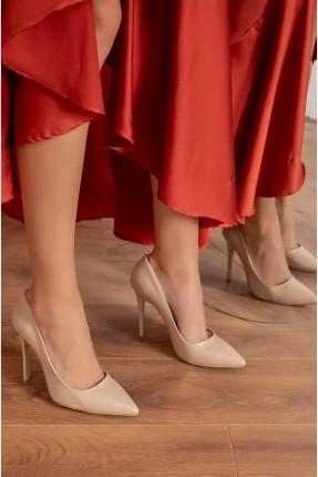 حذاء نسائي جلد - بيج