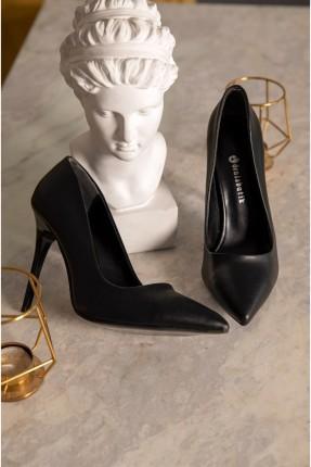 حذاء نسائي جلد بكعب رفيع - اسود