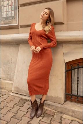 فستان سبور تريكو بياقة V