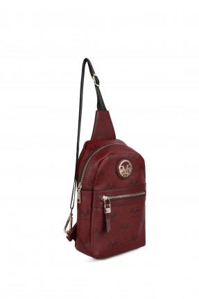 حقيبة ظهر نسائية مزينة بقطعة معدنية - خمري