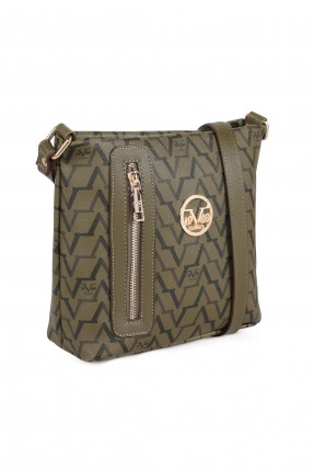 حقيبة يد نسائية بسحاب جانبي - زيتي
