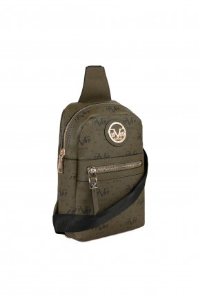 حقيبة ظهر نسائية مزينة بقطعة معدنية - زيتي
