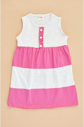 فستان سبور اطفال بناتي حفر بتفاصيل ازرار