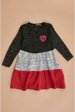 فستان سبور اطفال بناتي بقلب مزين بترتر