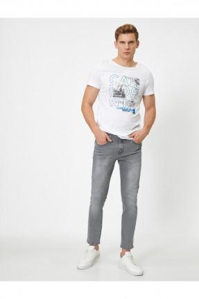 بنطال جينز رجالي سكيني فيت - رمادي