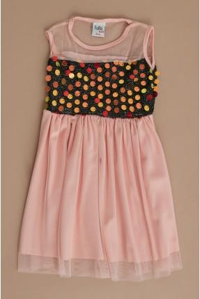 فستان سبور اطفال بناتي بترتر ملون على الصدر