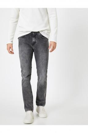 بنطال جينز رجالي بكحتة - رمادي