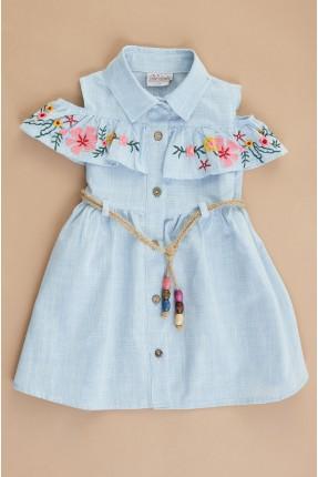فستان سبور اطفال بناتي بنقشة زهور ملونة - ازرق