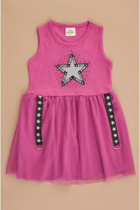 فستان سبور اطفال بناتي بطبعة نجوم - فوشيا