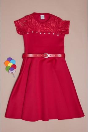 فستان سبور اطفال بناتي بدانتيل على الصدر - احمر