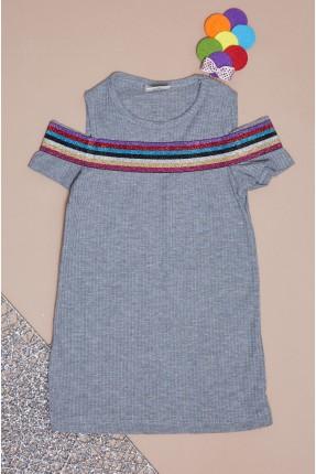 فستان سبور بيبي بناتي بخطوط لامعة على الصدر