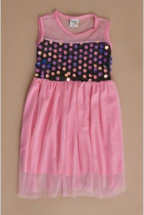 فستان سبور اطفال بناتي مزين بترتر - زهري