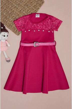 فستان سبور اطفال بناتي بدانتيل - فوشيا