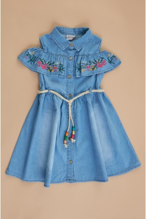 فستان سبور اطفال بناتي بفتحات على الاكتاف