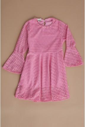 فستان سبور اطفال بناتي بدانتيل - زهري