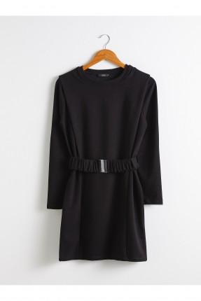 فستان سبور بياقة دائرية - اسود