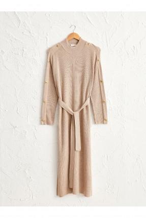 فستان سبور تريكو بازرار على الاكمام - بيج