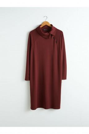 فستان سبور بياقة مرتفعة وازرار جانبية - خمري