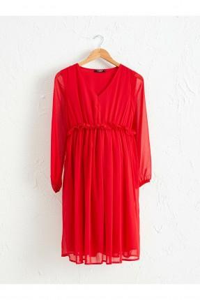 فستان سبور حمل بياقة V وكشكش على الخصر - احمر