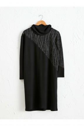 فستان سبور بياقة مرتفعة ونقشة لامعة - اسود