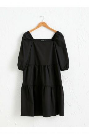 فستان سبور بوبلين بياقة مربعة - اسود
