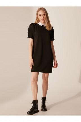 فستان سبور بياقة مغايرة اللون - اسود