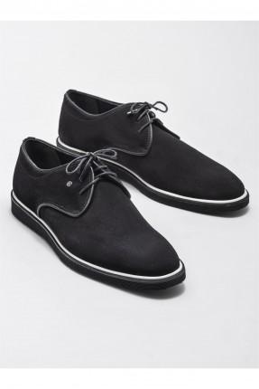 حذاء رجالي جلد بخط مغاير اللون - اسود
