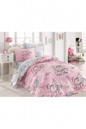 طقم غطاء سرير فردي مزين بكتابة
