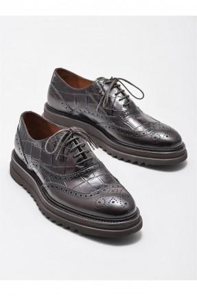 حذاء رجالي جلد بثقوب - بني