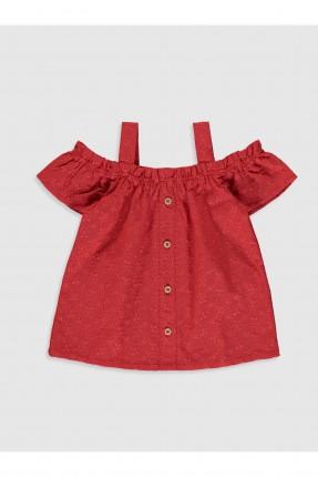 بلوز بيبي بناتي مزين بازرار - احمر