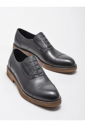 حذاء رجالي جلد بنعل مغاير اللون - اسود