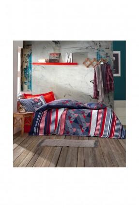 طقم غطاء سرير فردي مخطط