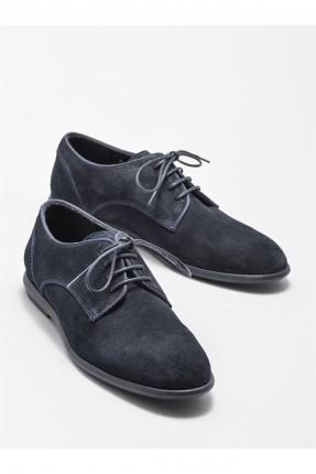 حذاء رجالي جلد برباط - كحلي