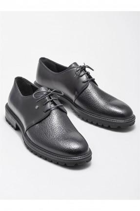 حذاء رجالي جلد سادة - اسود