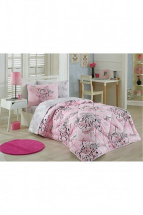طقم لحاف سرير فردي بكتابة