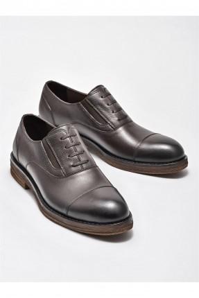 حذاء رجالي جلد بمطاط على الجوانب - بني
