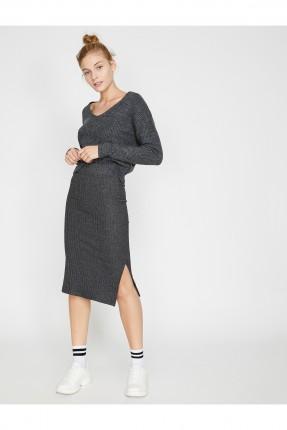 تنورة قصيرة مقلمة بشق جانبي - رمادي