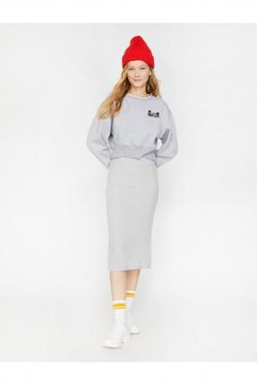 تنورة قصيرة مقلمة بخصر مطاط - رمادي