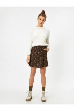 تنورة قصيرة مزخرفة بجيب جانبي - خمري