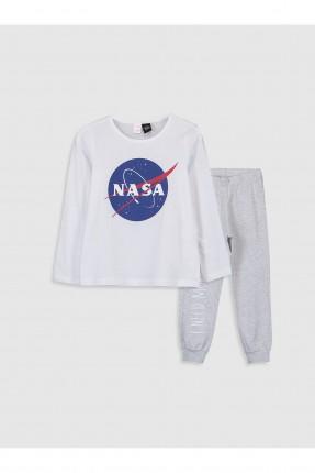بيجاما اطفال بناتي بطبعة وكالة ناسا - ابيض