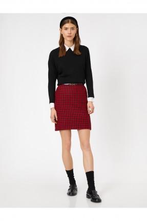 تنورة قصيرة مزخرفة بجيوب جانبية - احمر