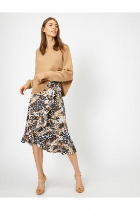 تنورة قصيرة مزخرفة بكشكش - بني
